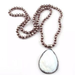 Pave shell pendant crystal beaded necklace